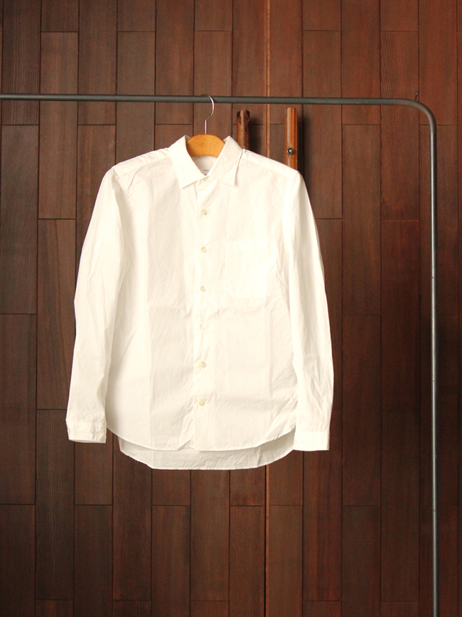 nanamicaWindRegularCollarShirtWHITE