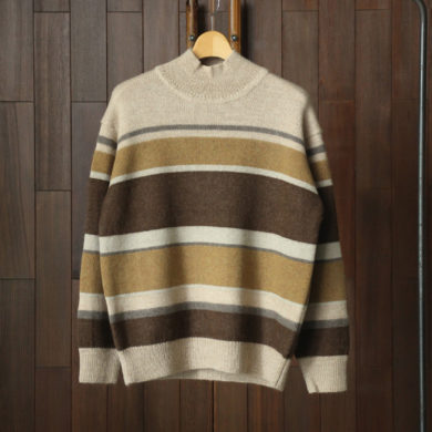 Phlannel|Baby Alpaca Multi Border Hi-neck Sweater #Beige Base
