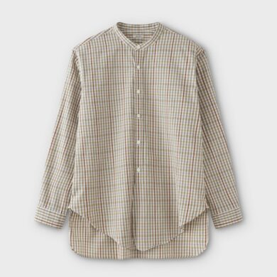 PHIGVEL MAKERS & Co.|BAND COLLAR CHECK LONG SHIRT #BEIGE/YELLOW [PMAL-LS07]